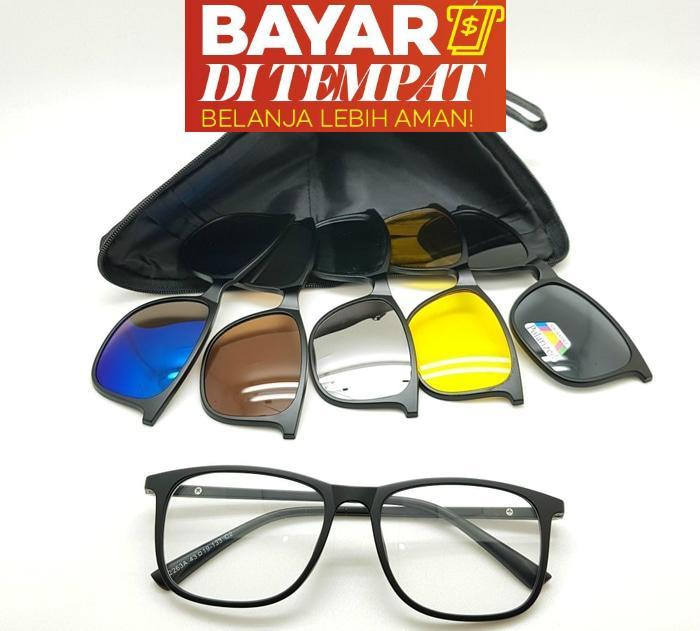 Kacamata Magnet Sunglasses Clip On 5 Lensa Super Fullset - Kacamata Clip On 5  Lensa - f3f8c4019b