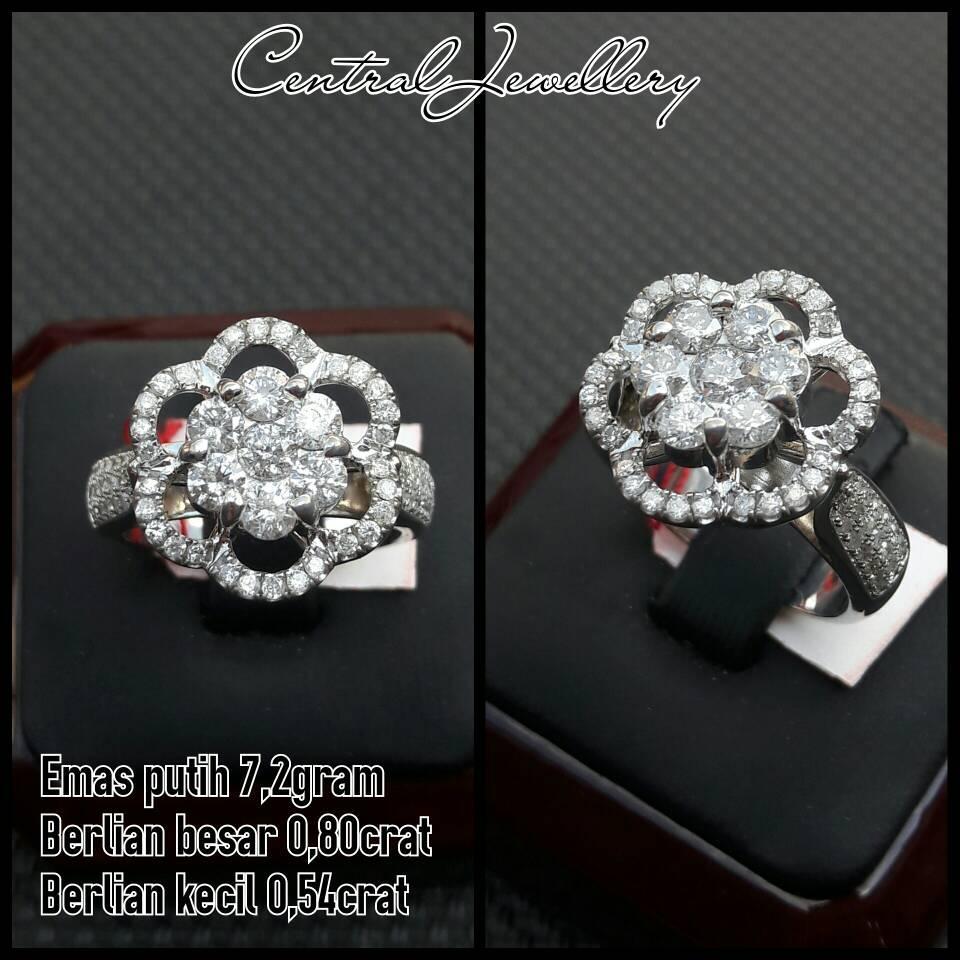cincin berlian eropa cewe ring emas putih asli