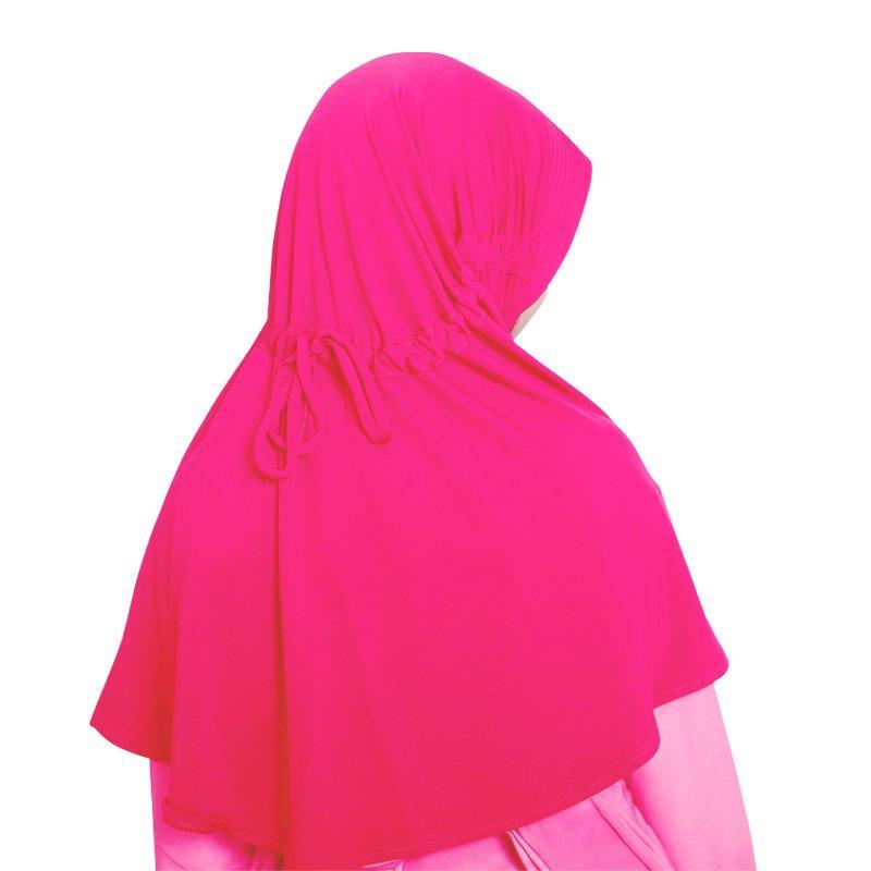 BAJUYULI - Kerudung Jilbab Anak Murah Polos Basic Adem Pink Fanta - 2