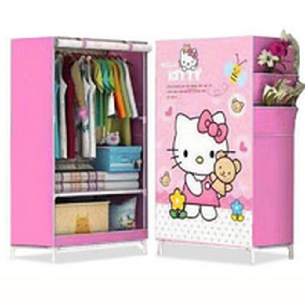Rak Lemari Baju Lemari Pakaian Gantung Minimalis Lemari Pakaian Portable Lemari Pakaian Minimalis Karakter Kitty Teddy 1 Kolom