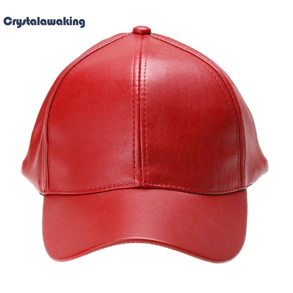 Beli Unisex Leather Baseball Cap Outdoor Sport Adjustable Hat Red Intl Nyicil