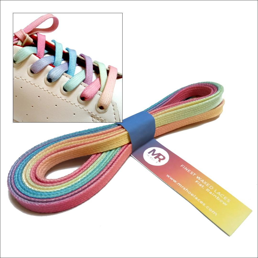 Mr. Sholeaces - Tali Sepatu Lilin Gepeng 6-7mm - Pelangi (Rainbow)