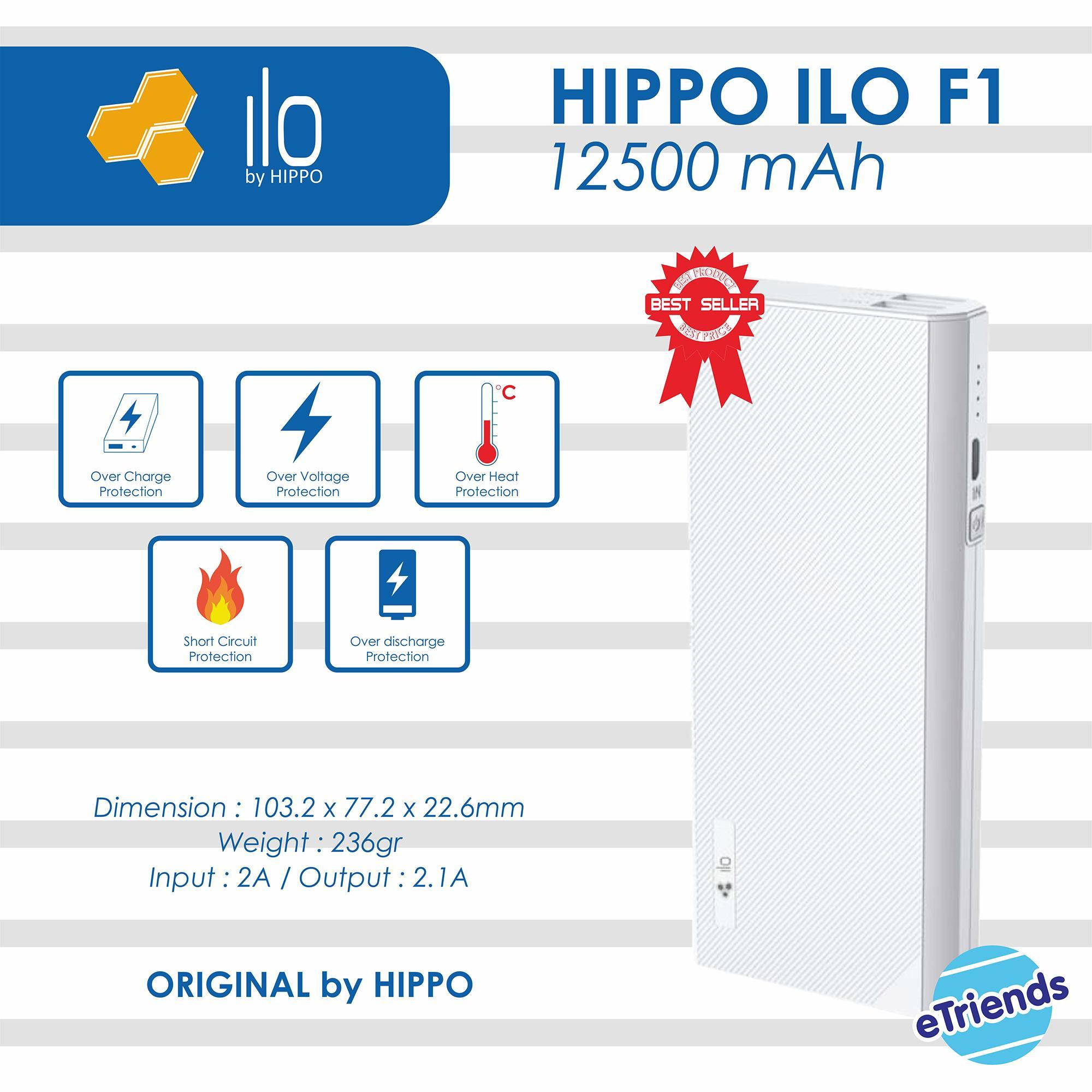 Powerbank Hippo Ilo F1 12500 mAh Original - Putih