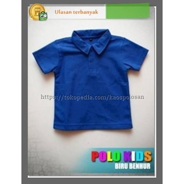 Kaos Polos Distro POLO Anak Kids Ukuran M Warna Biru Benhur - Zi3kce