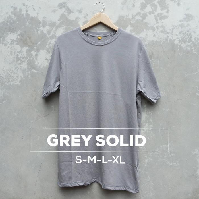 Baju Kaos Polos Oblong Bandung Abu Grey Solid Cewek Cowok Pria Wanita