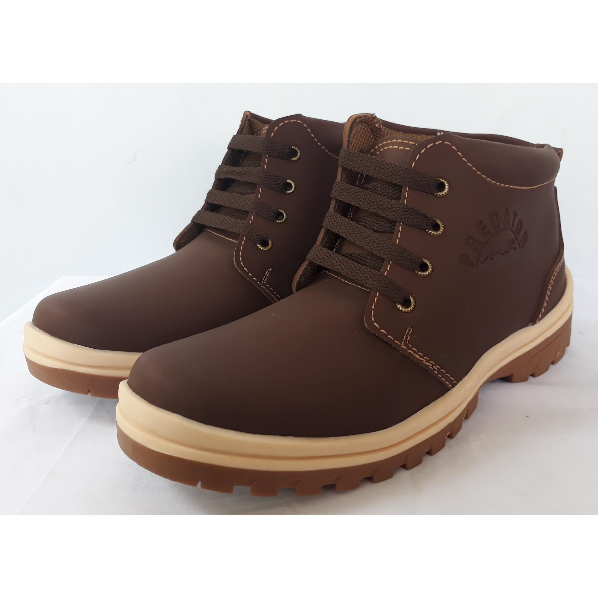... Sepatu Pria Safety/Sepatu Boot/Sepatu Bikers Pria Casual - Coklat Tua - 3 ...