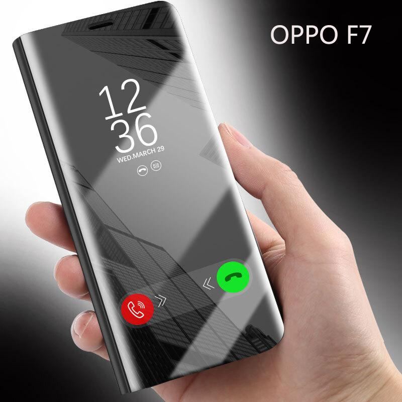 Luxury Mirror Clear View Smart Flip Cover Case For OPPO F7