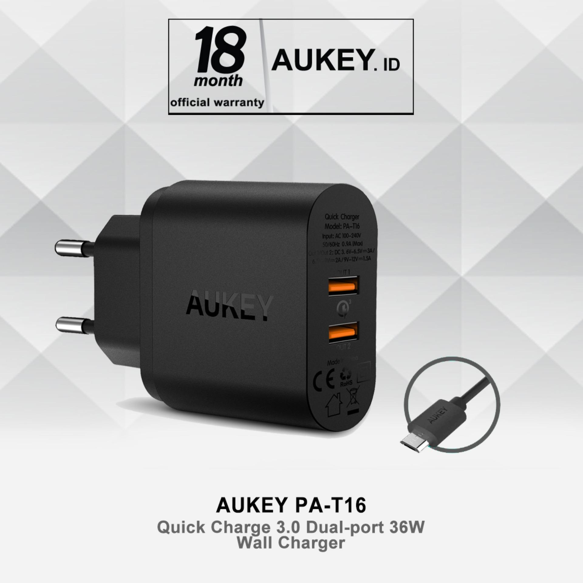 Jual Aukey Pa T16 36W 2 Port Usb Wall Charger With Quick Charge 3 Hitam Branded Murah