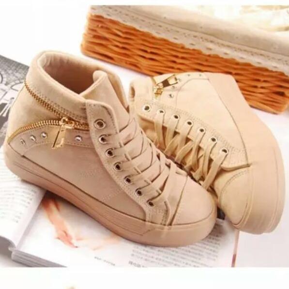 Ulasan Lengkap Ellen Taslim Cm 13 Sepatu Kets Sneakers Zipper Cream