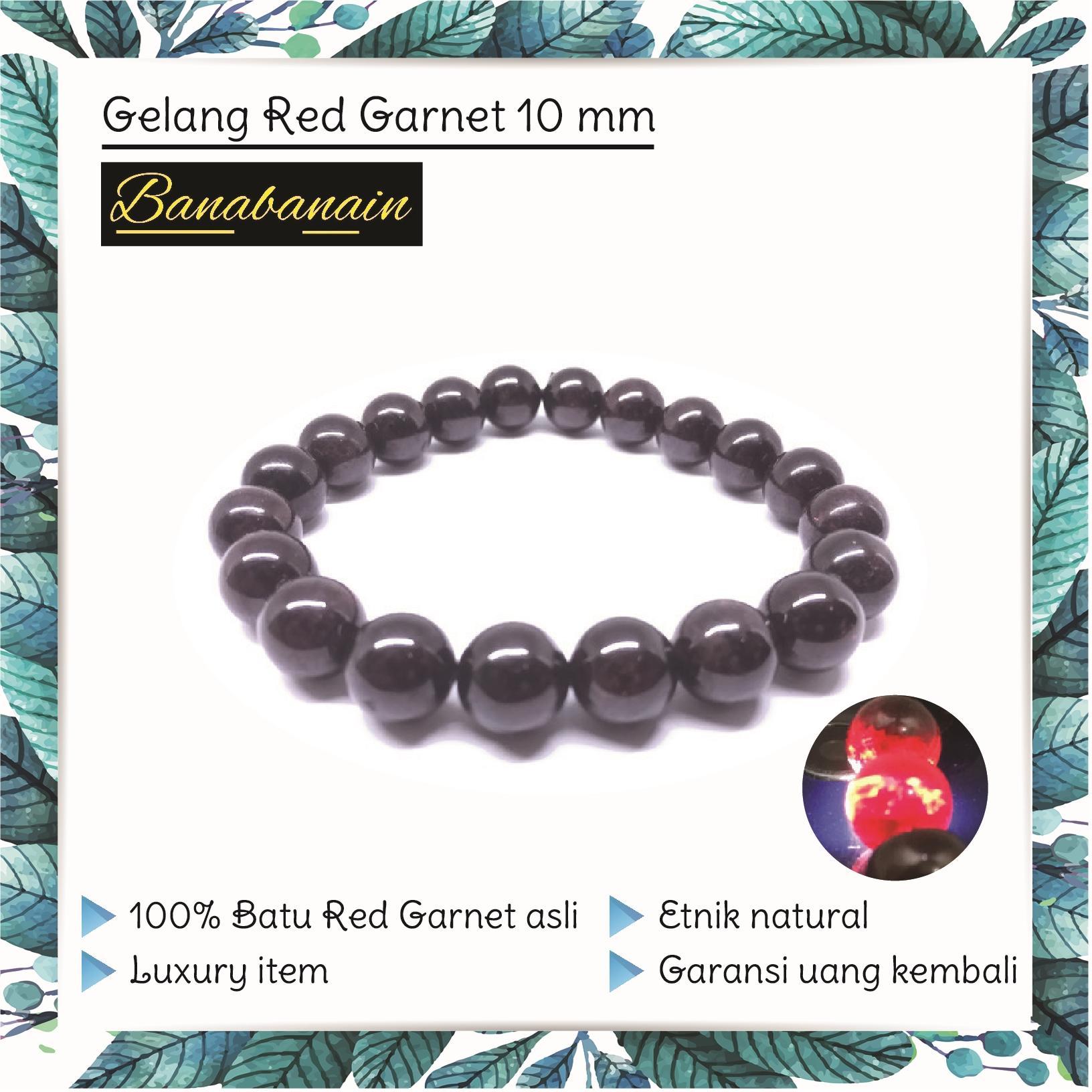 Gelang Batu Asli Cowok Cewek Red Garnet 10Mm Gelang Batu Akik Natural