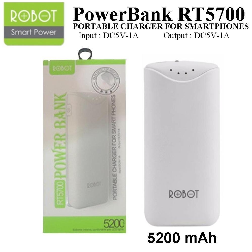 Powerbank / Power Bank Robot RT5700 / 5200 mAh By Vivan - Putih