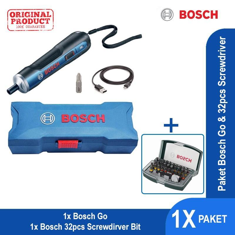 Paket 35 - Bosch Go Pen Drive + 32pcs Screwdriver Bit Set with Colour Coding - 06019H20K0 + 2607017359
