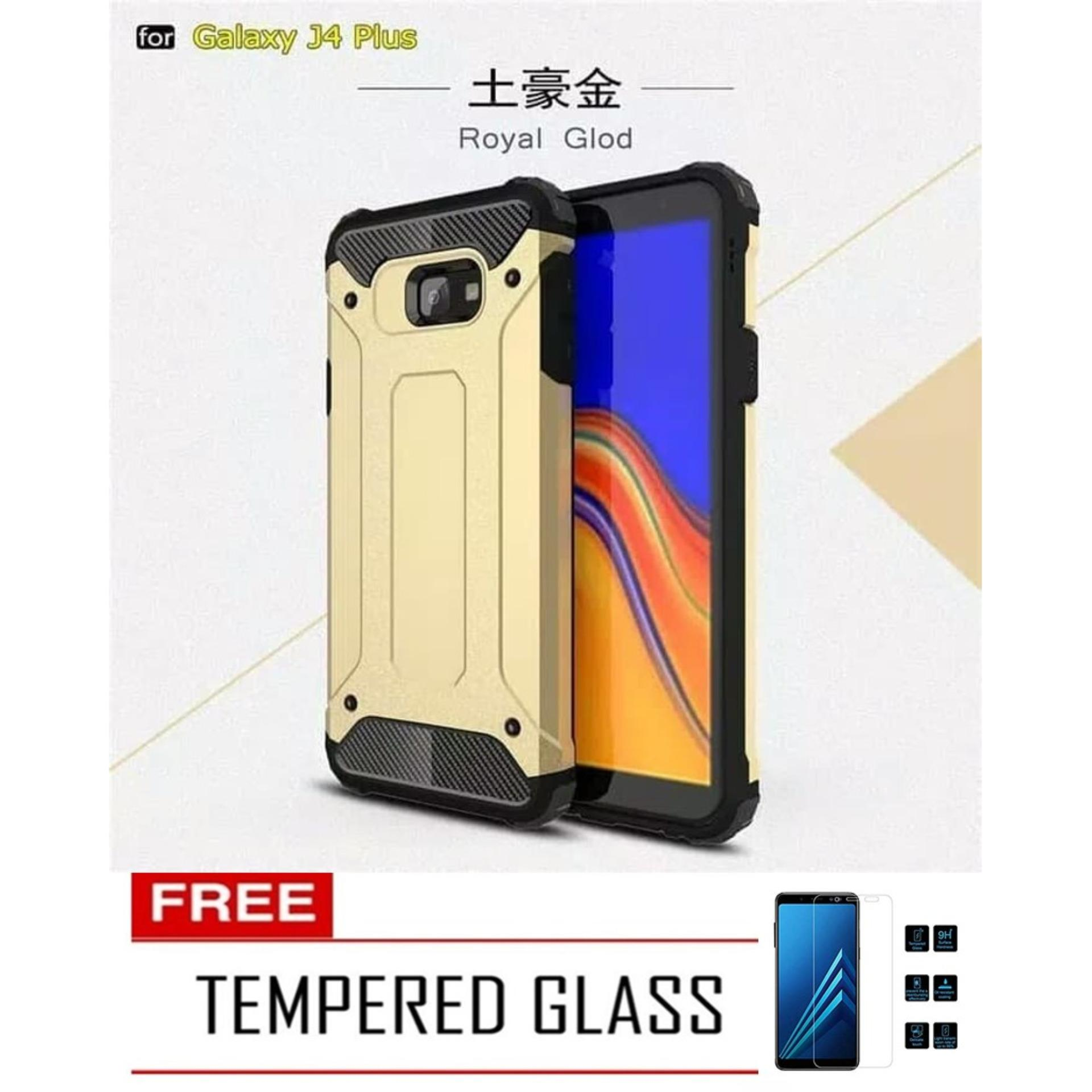Case Hard Cover Robot Shockproof Armor For Samsung Galaxy J4 Plus 2018 - Gold FREE Tempered