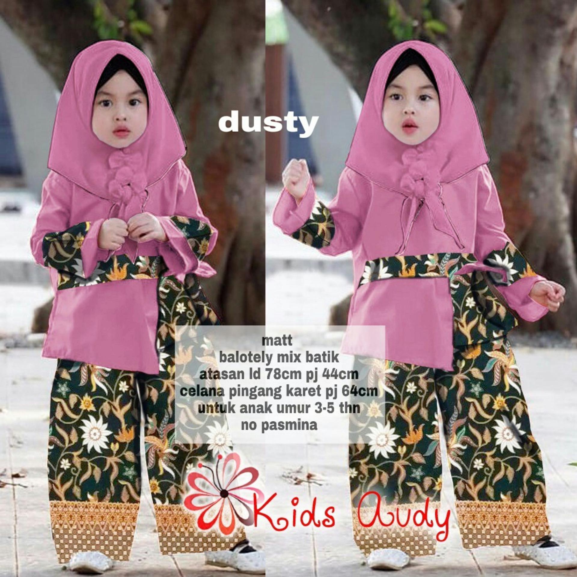 Fitur Mila Style Baju Gamis Batik Anak Cappucino Size M Cbum1551m1