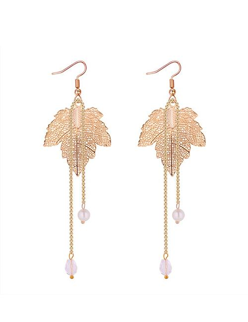 LRC Anting Gantung Simple Silver Color Leaf Shape Decorated Earrings