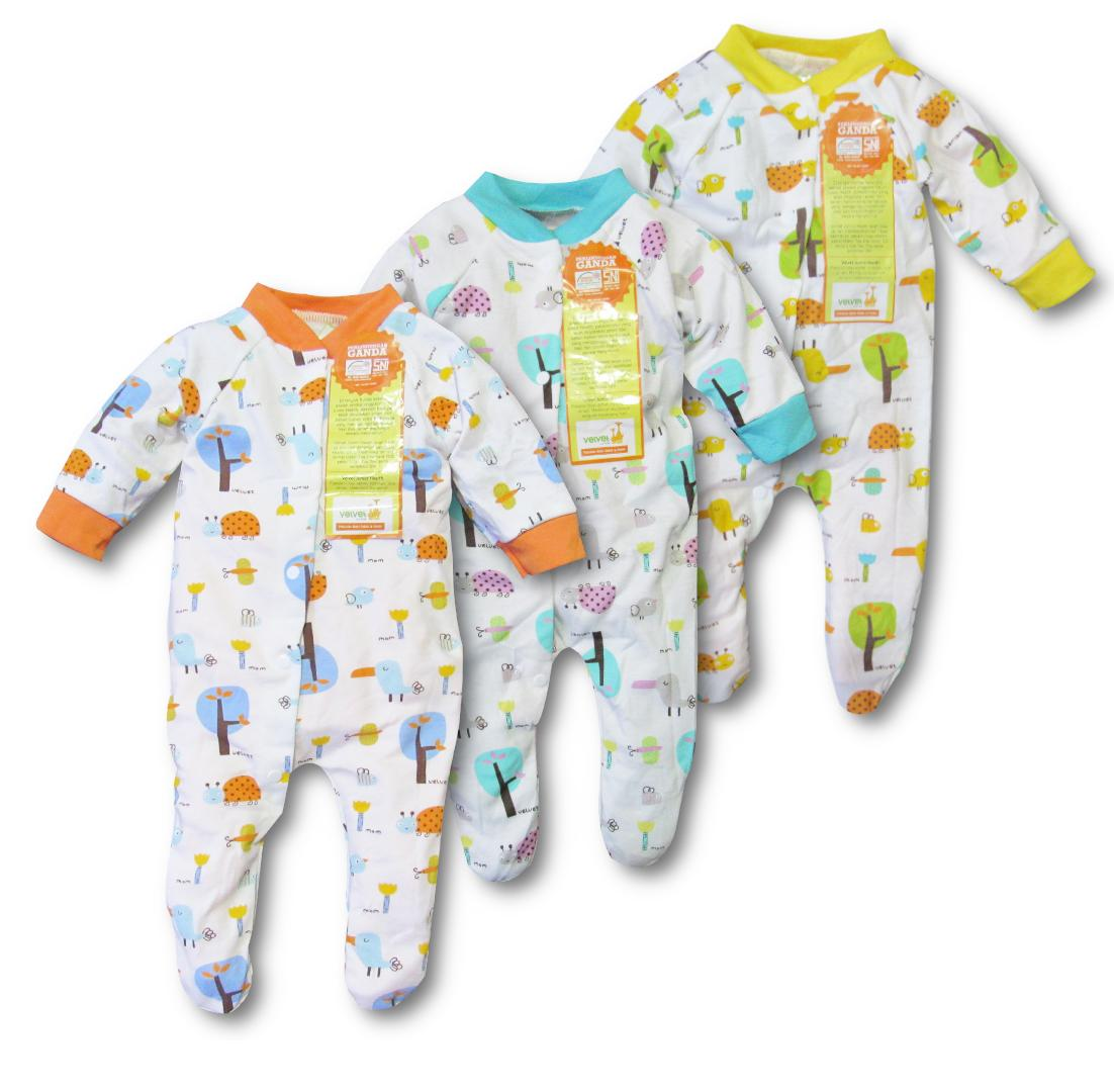 Fitur Fiona 3pcs Baju Anak Bayi Slipsuit Rompers Kodok Jamper Overall Velvet Tutup Kaki