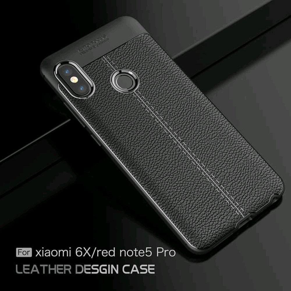 Case Leather Auto Focus Original Case Xiaomi Redmi Note 5 Pro Softcase Back
