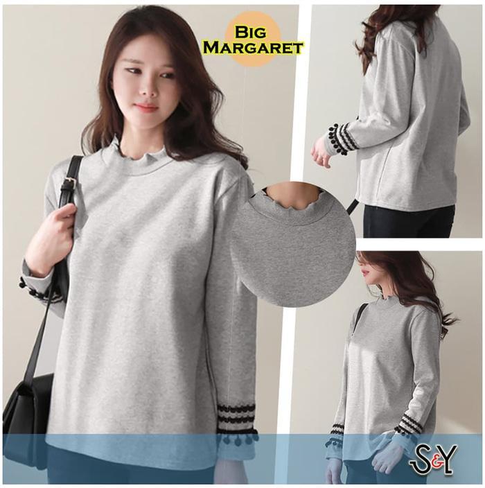 Big Margaret Baju Atasan Wanita Big Size Lengan Panjang Jumbo Spandek