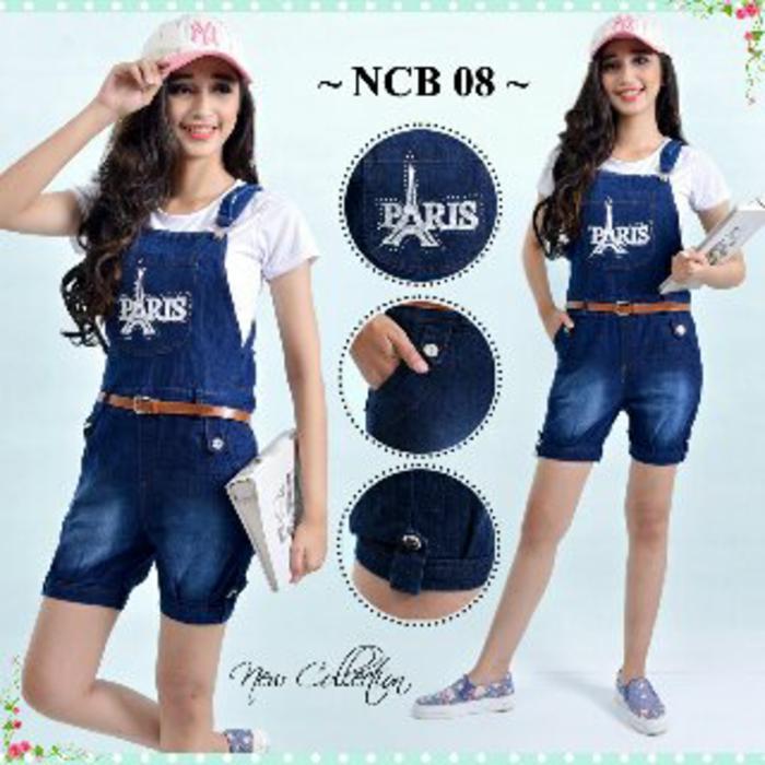 Celana kodok pendek paris with inner anak remaja abg overall jeans