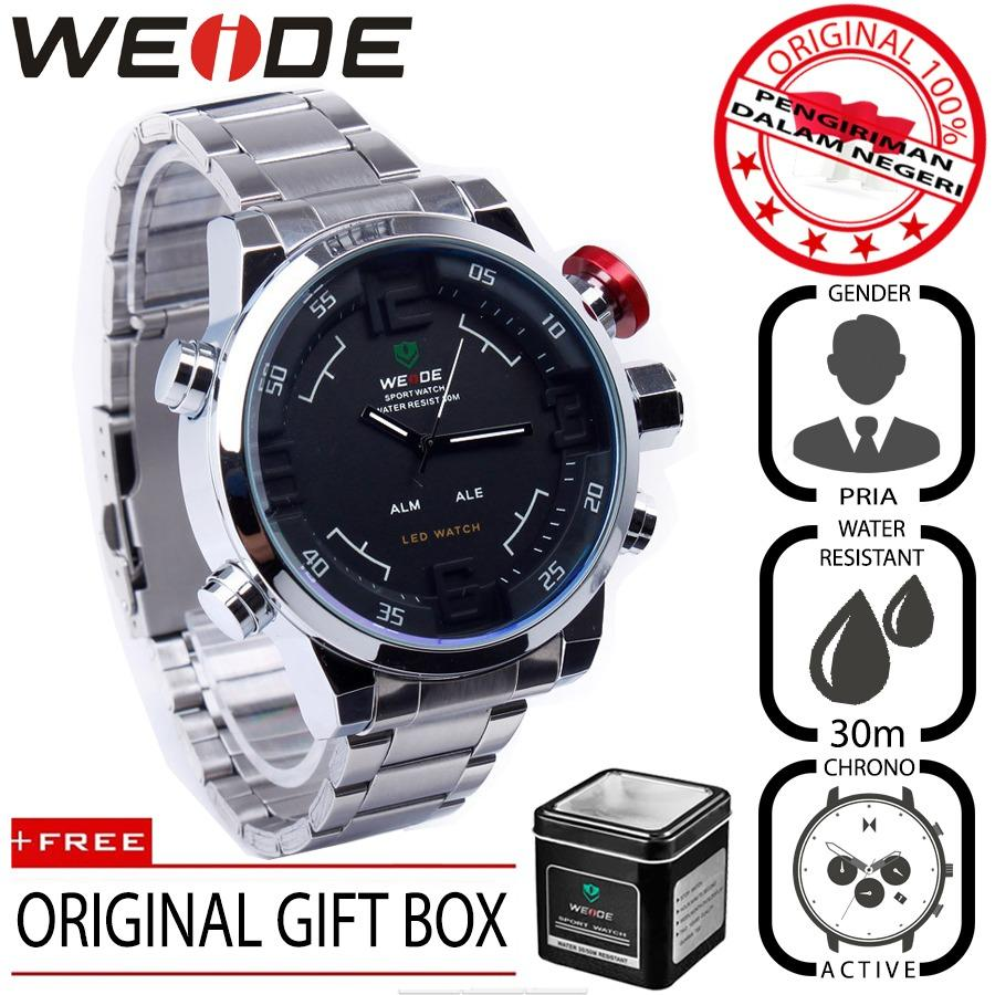 Beli Weide 2309 Jam Tangan Pria Casual Business Analog Digital Stainless 50 Mm Anti Air 30 M Water Resistant Watches Nyicil