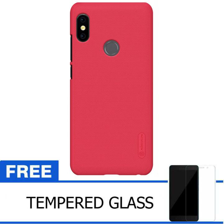 Nillkin Original For Xiaomi Redmi Note 5 Pro Super Frosted Shield Hard Case Original - Merah + Gratis Tempered Glass