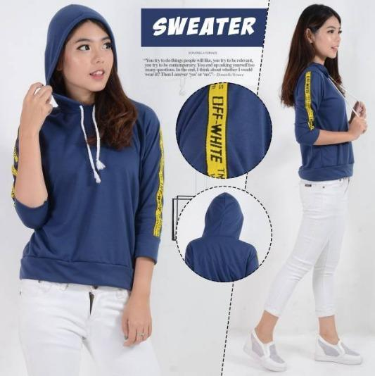 Michellestore Sweater Wanita Hoodie Mix Stevi Top Salur Fit L Putih ... f9ddf447df
