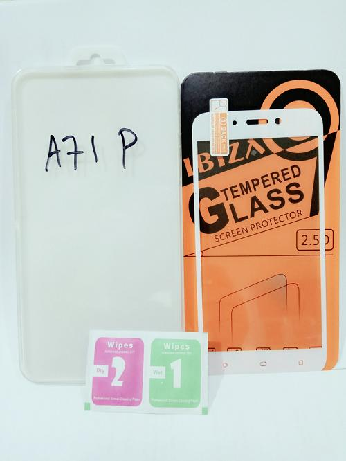 Oppo A71 Tempered Glass Warna Anti Gores Kaca Full Layar Oppo A71 Putih - Packing Mica