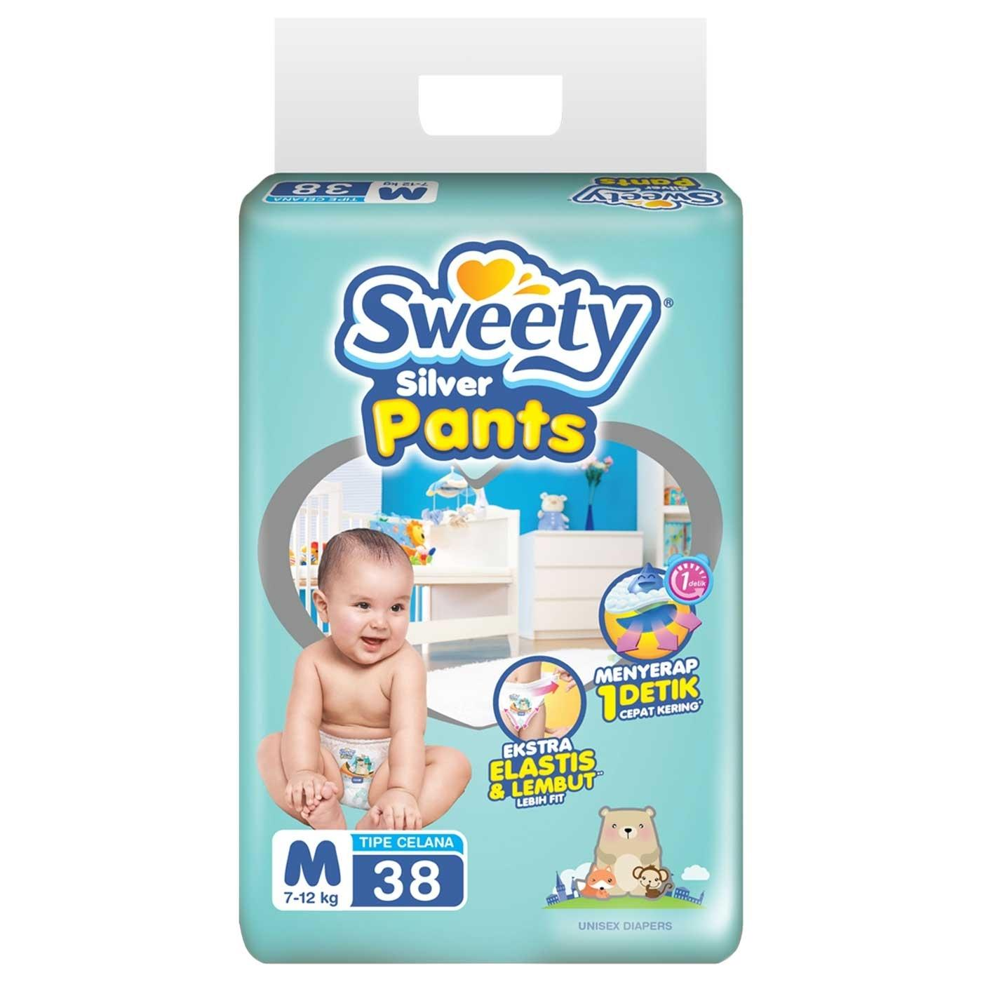 Spesifikasi Sweety Diapers Silver Pants M 38