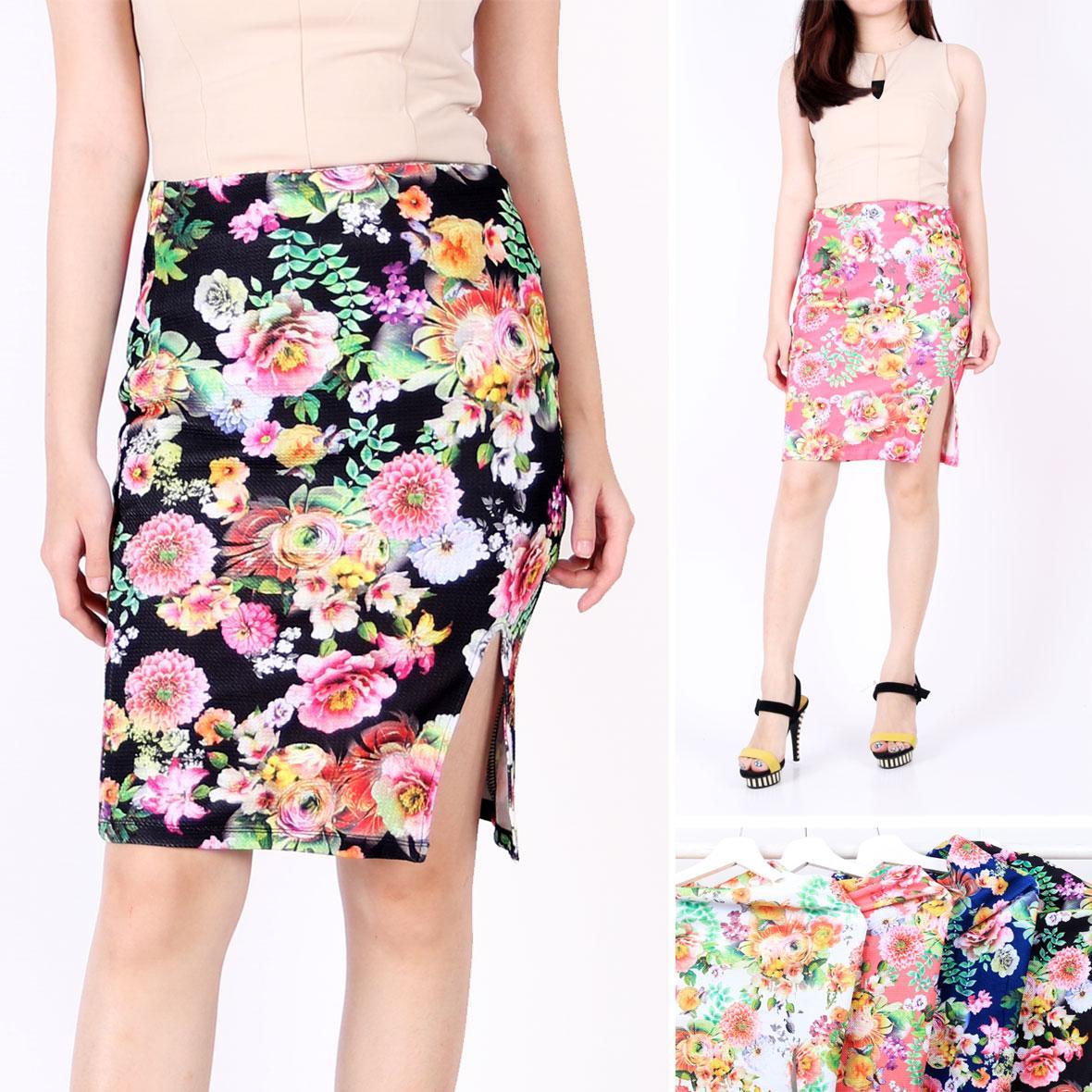 Oma Holley Fashion Meshach Rok Mini Motif Flower 4 Warna-Size M