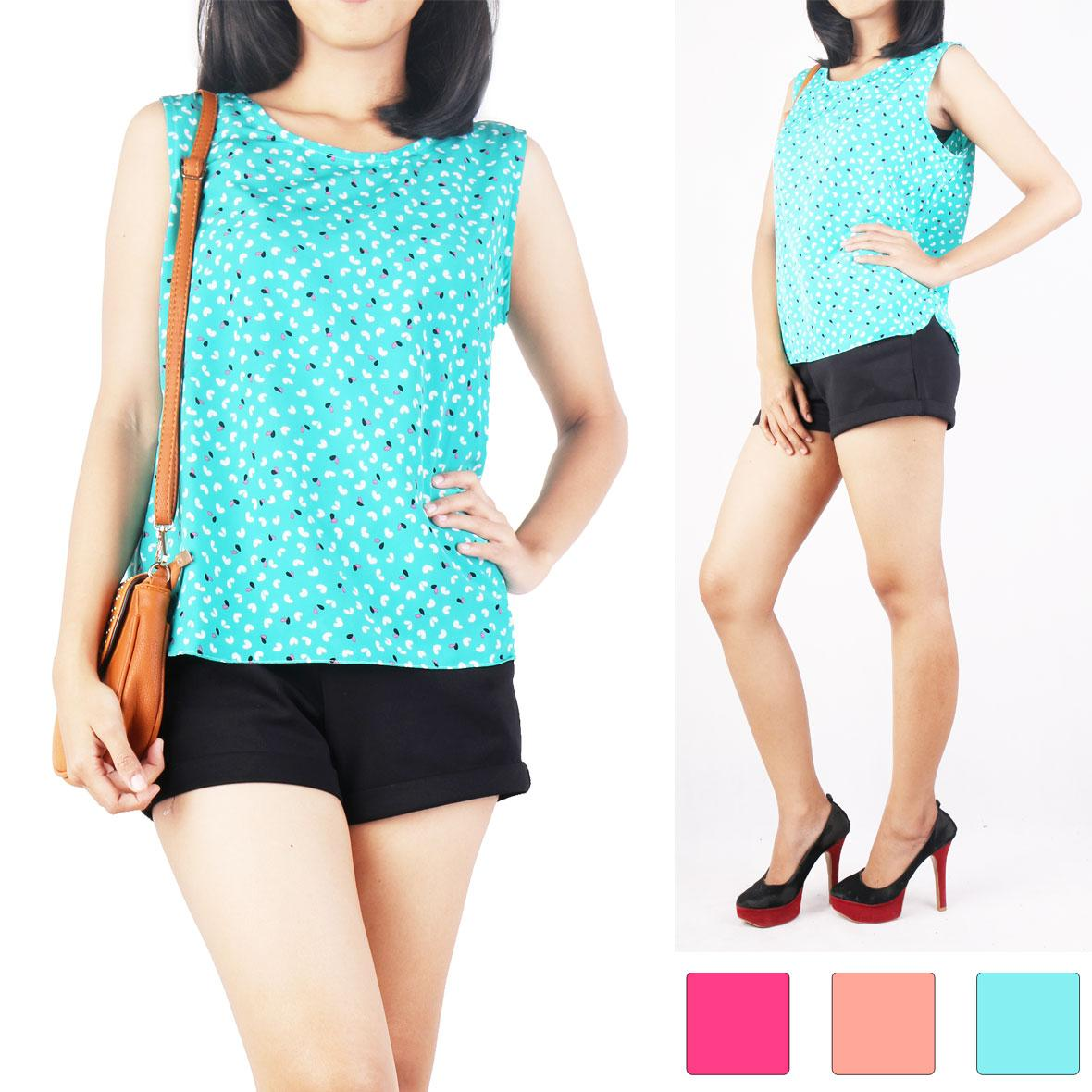 Oma Holley Fashion Nevadari Blouse Sleeveless 3 Warna-Size M
