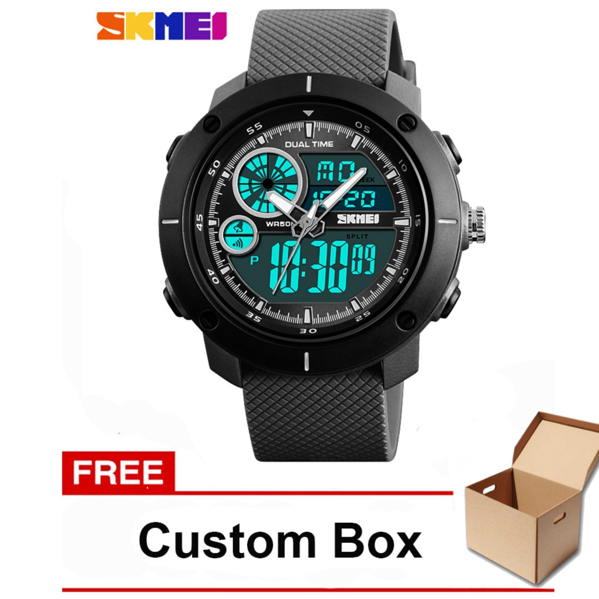 SKMEI 1361 Jam Tangan Pria Sportwatch Dual Time Analog Digital Water Resistant 50M