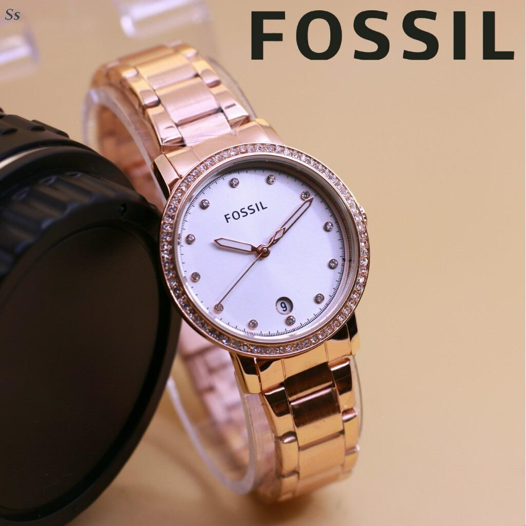 Jam Tangan Fosil Markle - Limited Edition Elegant Series-Pria Wanita Formal Kasual Terbaru-Women or Men Luxury Watch-Stainless Strap-Kulit Kanvas Army Kekinian Sporty Fashionable Bonus Zippo Premium Beam Korek Free Trend 2018