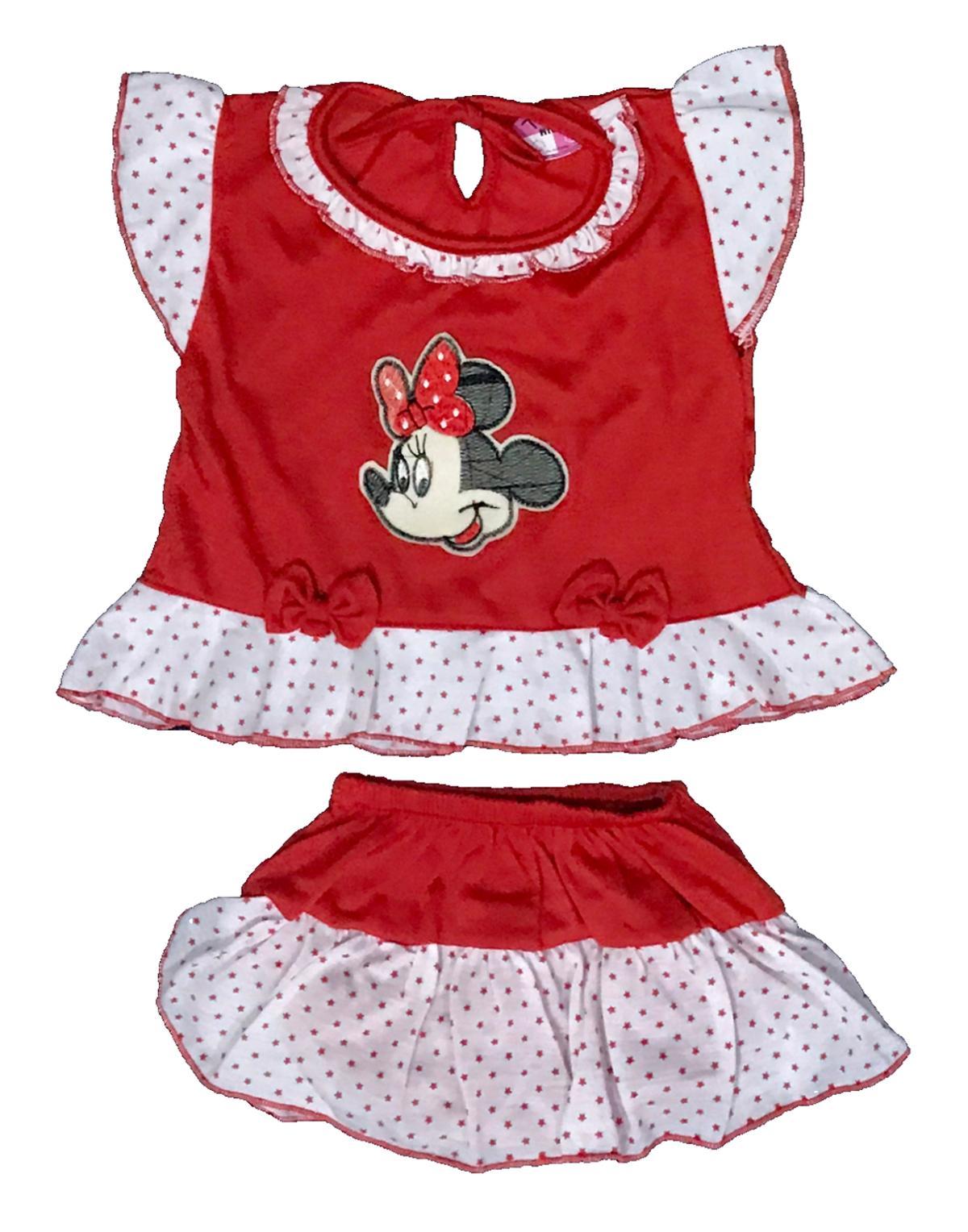 BAYIe - Setelan Baju bayi Perempuan + Celana Rok motif MICKEY usia 0-12 bulan