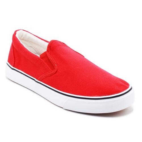 Harga Faster Sepatu Sneakers Kanvas Wanita 1603 06 Merah Putih Baru Murah
