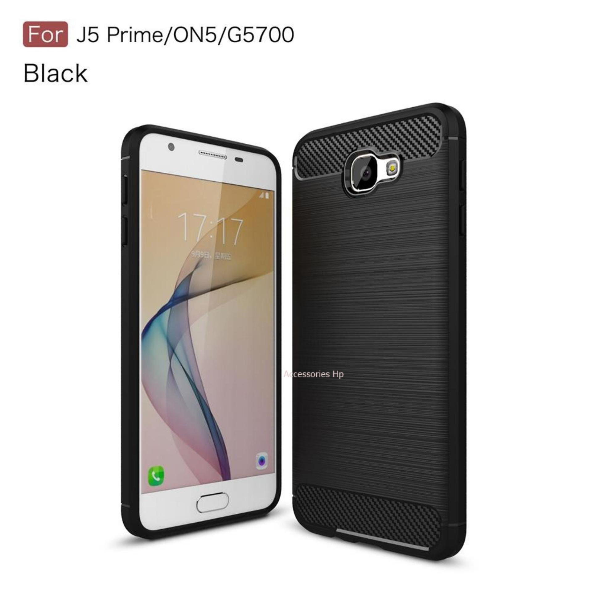 Accessories HP Premium Quality Carbon Shockproof Hybrid Case for Samsung Galaxy J5 Prime - Black