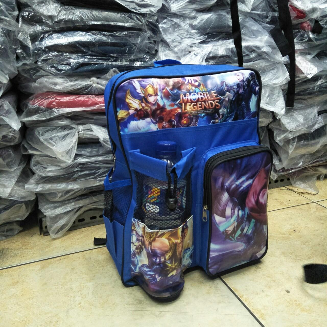 tas mobile legend anak sd mobile legend caracter size 14 inchi - blue