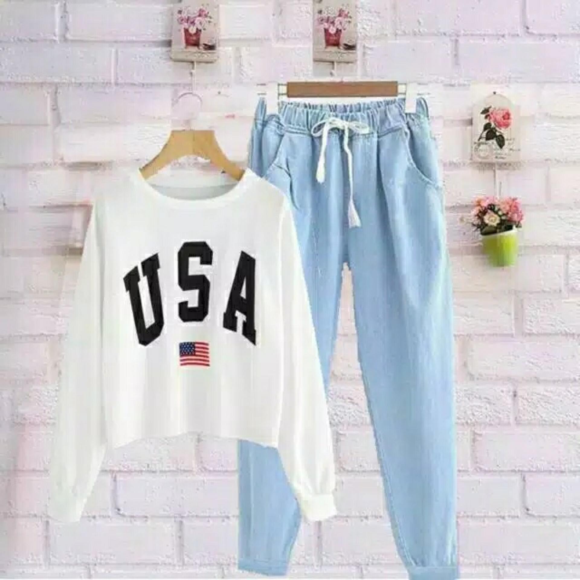 Setelan Baju dan Celana Cewek USA / Setelan Wanita / Stelan Wanita Murah / Baju Wanita