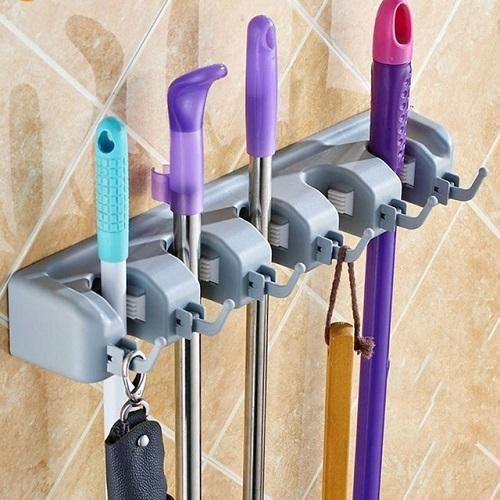 BonBon Gantungan Gagang Sapu Pel / Mop Holder 5 Slot + 6 hanger