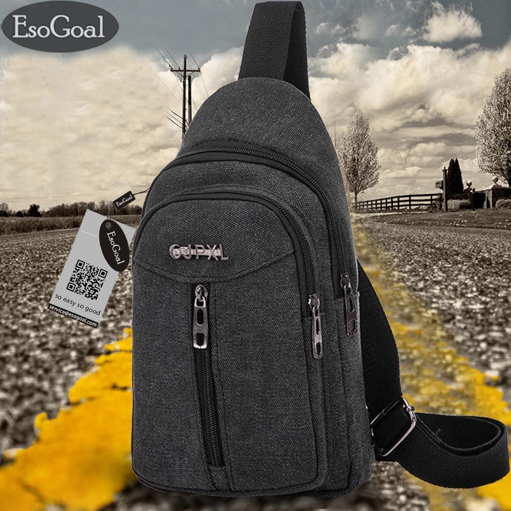Esogoal Men S Casual Canvas Chest Pack Cross Body Outdoor Travel Bag Satchel Shoulder Rucksack Sling Backpack Diskon Tiongkok