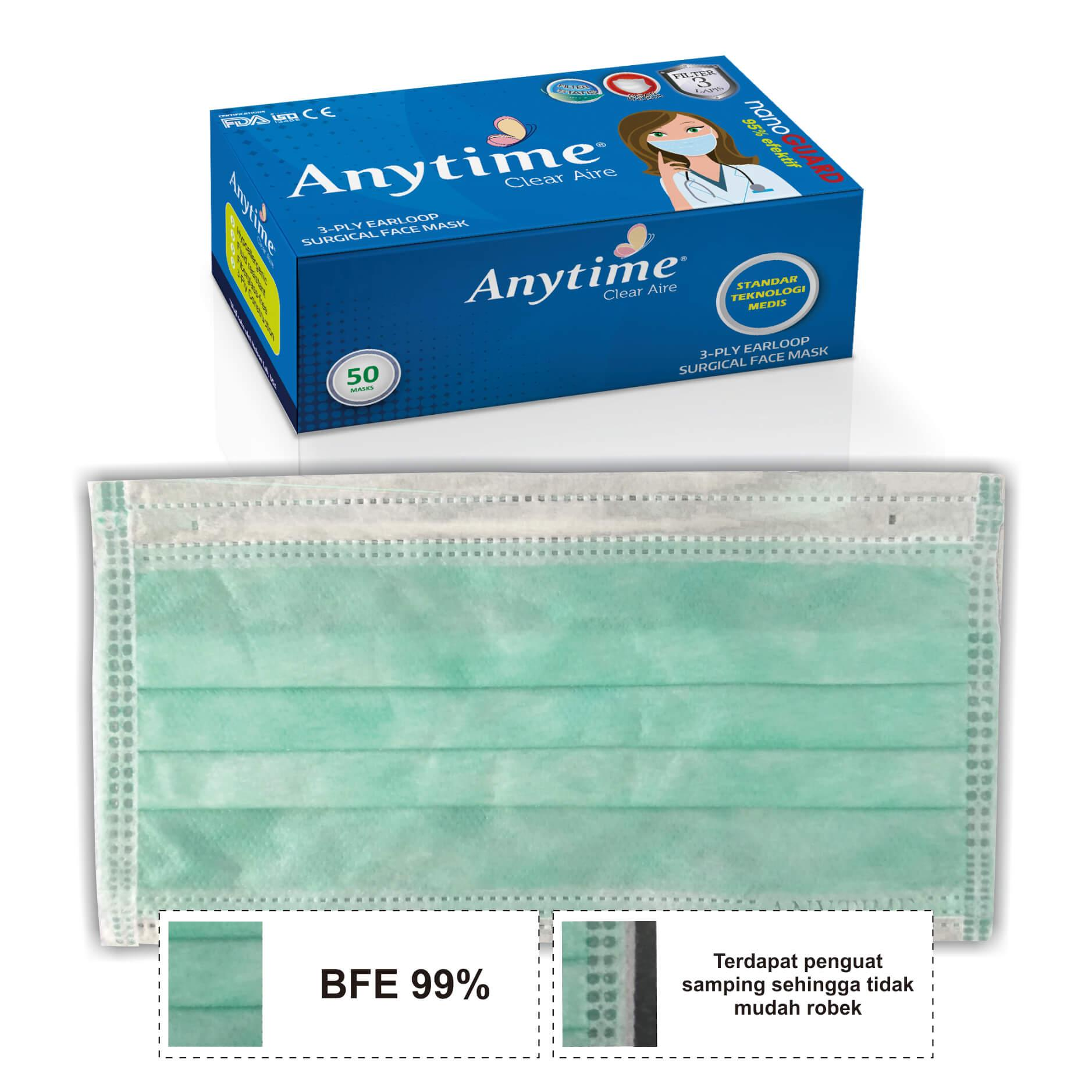 ANYTIME 3-Ply Earloop Surgical Face Mask 50 Pcs - Masker - Compare With Sensi
