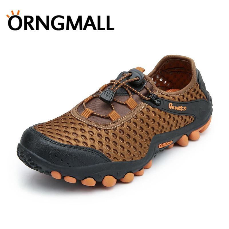 Detail Gambar ORNGMALL Sepatu Hiking Pria Untuk Pria Luar Ruangan Berjalan Sport Kasual Bernapas Mesh Sepatu Trekking Camping Travel Unik Bernapas Desain ...