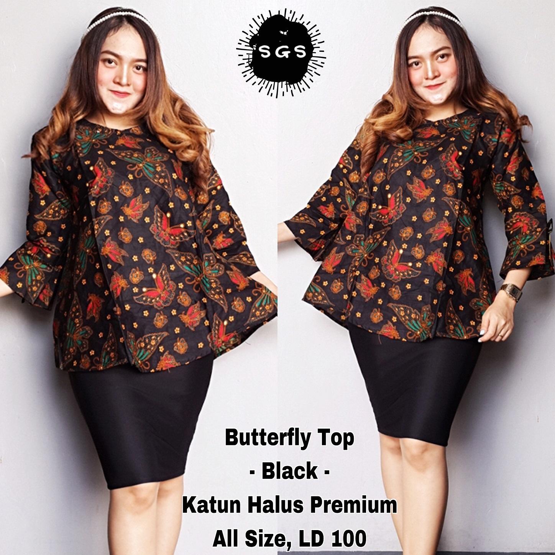 Atasan Blouse Batik Wanita Blus Batik Cap Blus Kerja Lengan Panjang Blouse  Batik 9427398042