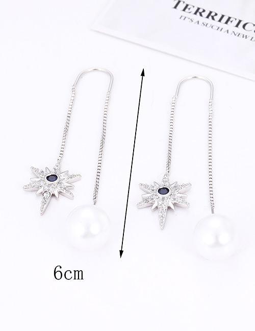 Detail Gambar LRC Anting Tusuk Fashion Silver Color Star Shape Decorated Earrings Terbaru