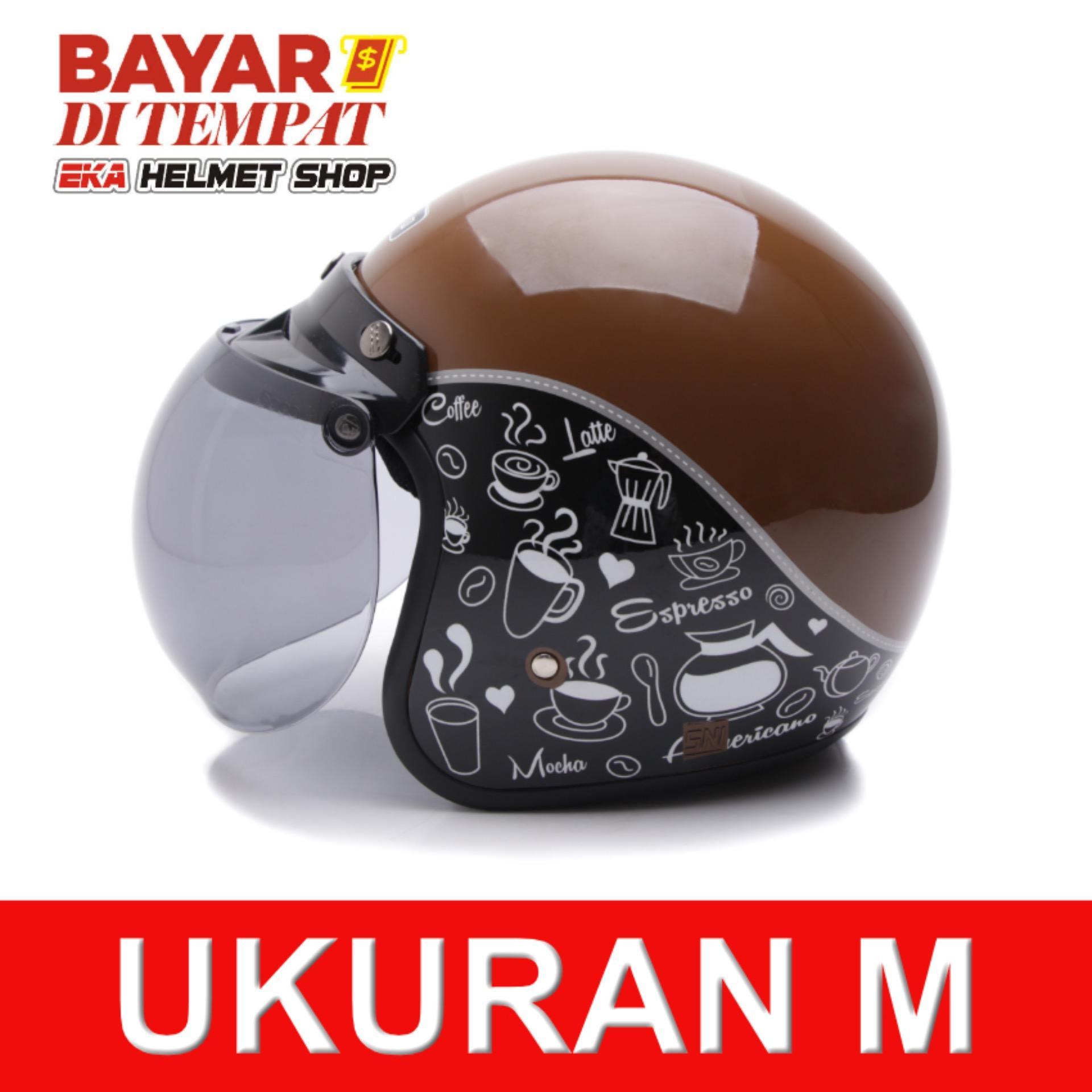 Harga Wto Helmet Retro Bogo Classic Coffee Cokelat Hitam Yang Murah Dan Bagus