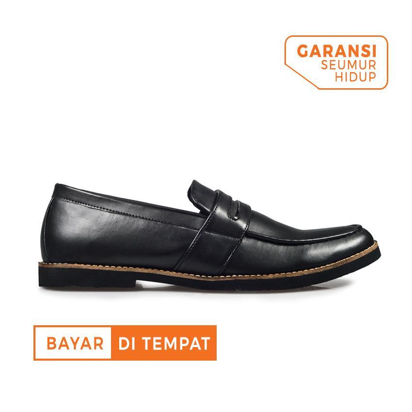 Jual Beli Sepatu Formal Loafer Slip On Kerja Kulit Pria Giant Flames Harper Black Baru Jawa Barat