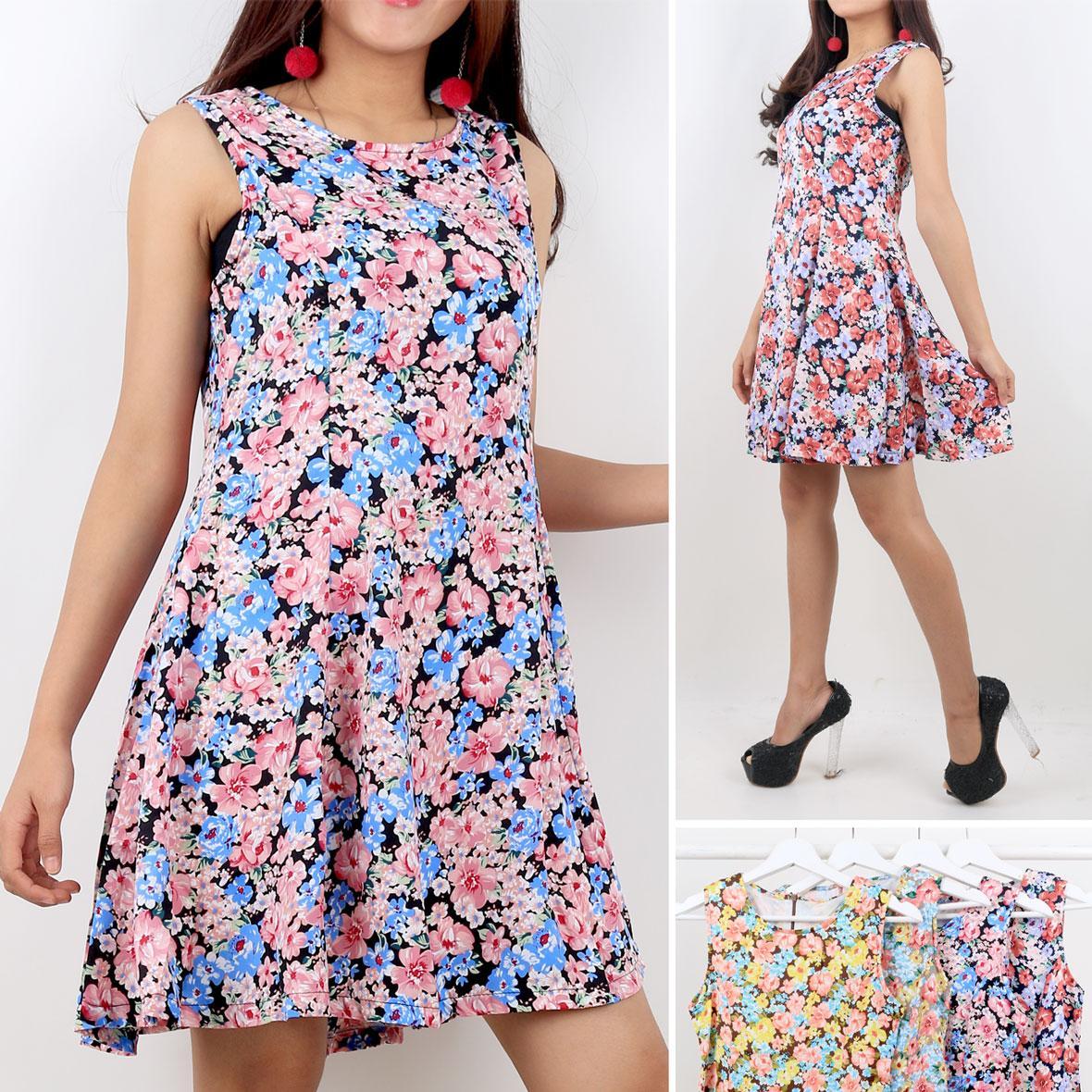 Oma Holley Fashion Aubrei Mini Dress Flowers Sleeveless 4 Warna-Size M