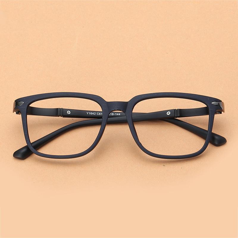 Retro bingkai kacamata pria bentuk persegi imitasi Kayu kacamata minus  bingkai lengkap wanita wajah bulat persegi 68b384702e