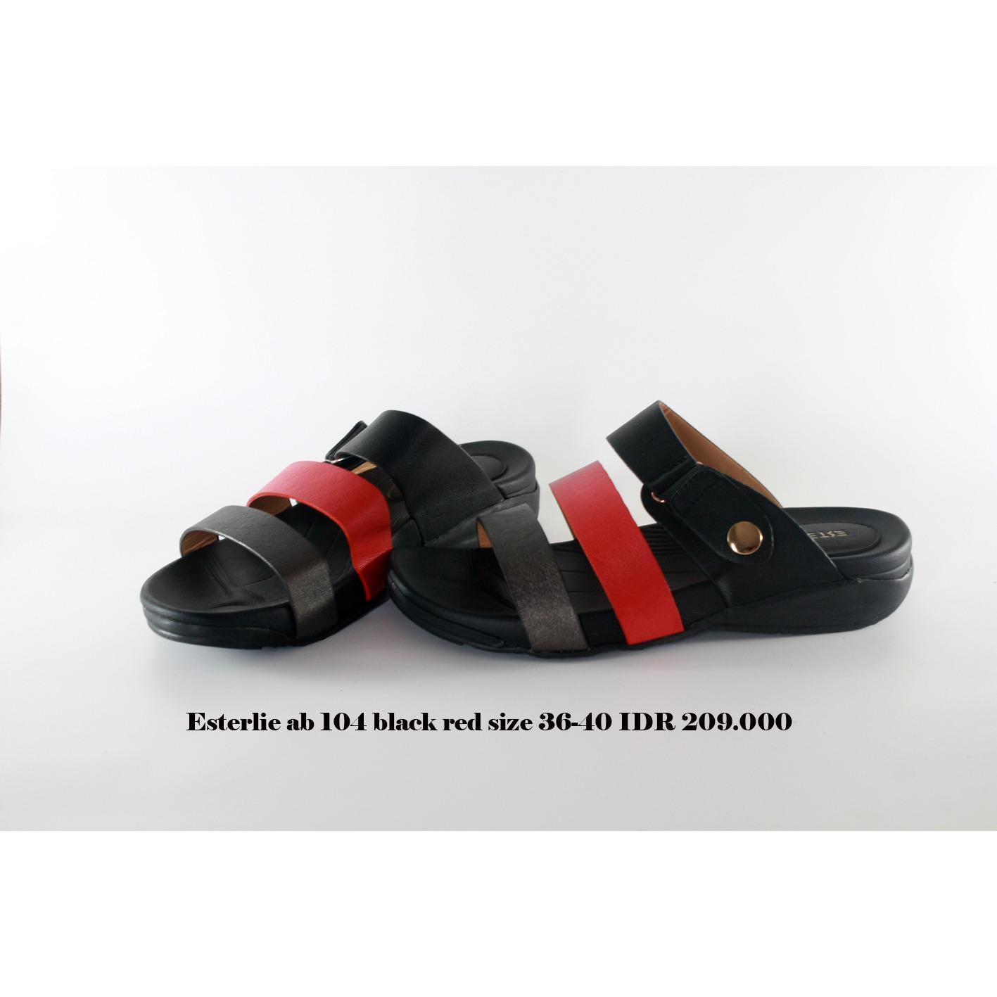 esterlie ab 104 sandal flat wanita hitam merah