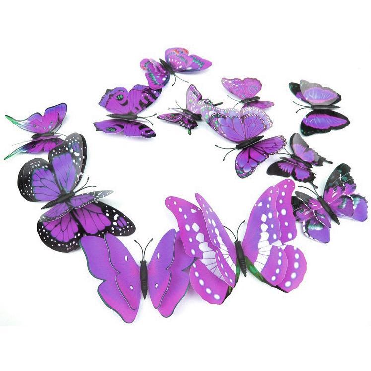 Stiker Hias Dinding Kupu-Kupu 12 Pcs - Purple