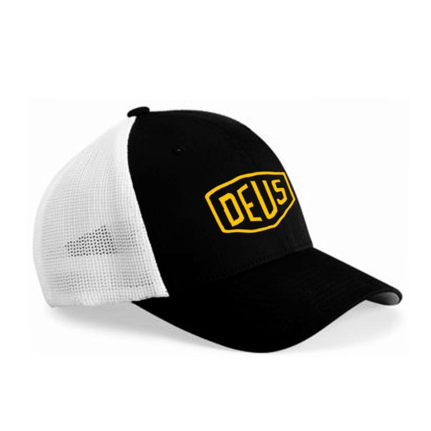SaifnStore Topi Trucker Logo Deus USA Yellow - Hitam Jaring Putih Premium